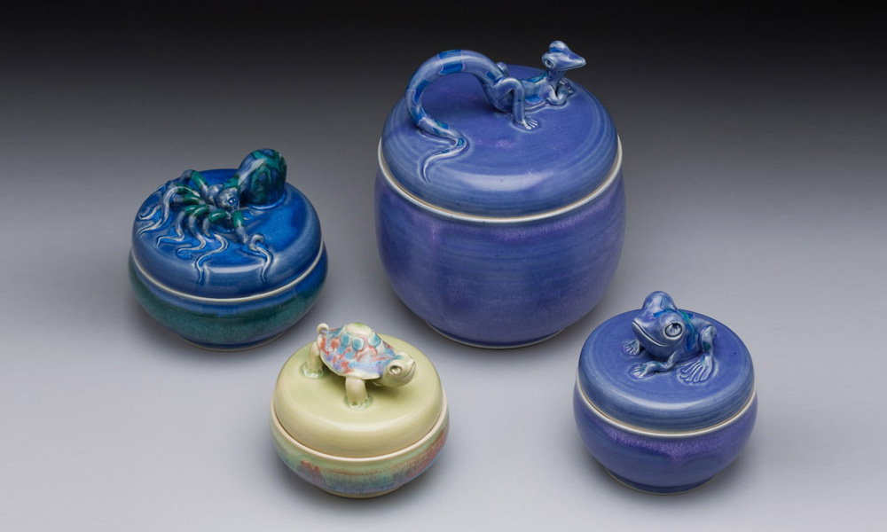 Frog, Lizard, Turtle, and Octopus Covered Jars